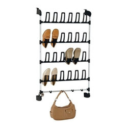 Organize It All - Overdoor 12 Pair Shoe Rack with Hook - With Our convenient shoe rack, you can easily store and organize your footwear while freeing up some much-needed floor space. With arch hooks, it holds up to 12 pairs of shoes in an upright position, allowing for easy ventilation. This shoe rack has a sturdy metal tubular frame for long-lasting performance. It can also be easily hung over a door up to 1 ' thick. Plus, there are four handy hooks on the bottom that you can use to hang purses, belts, scarves and other accessories.