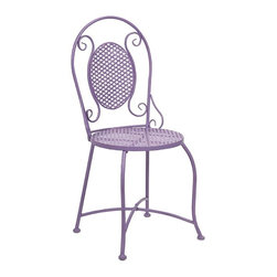 iMax - Yates Purple Iron Bistro Chair - Imagine indulging in a warm cup of coffee at the corner sidewalk caf� or a nice afternoon at the bakery for a sweet treat. This bistro chair adds color and personality to any location with its iron design.