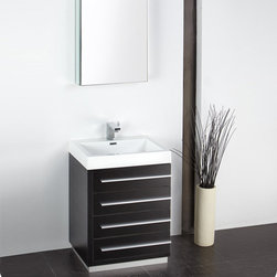 "Fresca - Fresca Livello 24 Black Modern Bathroom Vanity w/ Medicine Cabinet - The Fresca Livello Black 24"" four drawer vanity features slow close hinges to prevent slamming, and a durable acrylic countertop and sink that is resistant to distress under heavy use. Minimally designed to accentuate your bathroom, the Livello comes with a medicine cabinet for additional storage. Livello Bathroom Vanity Details:   Dimensions: Vanity: W 23.38 x D 18.63 x H 33.5, Medicine Cabinet: H 26 x W 19.5 x D 5"" Material: MDF with Acrylic Counter top/Sink with Overflow Finish: Black Single hole faucet mount Slow closing drawers Includes medicine cabinet Please note: faucet not included"