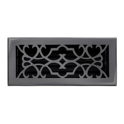 """Brass Elegans 120D DBZ Brass Decorative Floor Register Vent Cover - Victorian Sc - This dark bronze finish solid brass floor register heat vent cover with a victorian scroll design fits 4"""" x 10"""" x 2"""" duct openings and adds the perfect accent to your home decor."""
