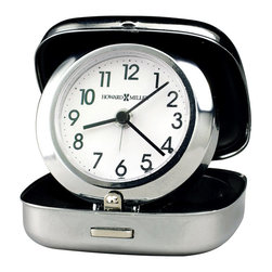 Howard Miller - Spring Loaded, Pop-Up Travel Alarm Clock - This stylish, useful alarm clock features a pop-up design which will bring the clock face to life with the push of a button. It's easy to fold up for quick mobility, and will serve you well on long business trips or vacations. The clock is finished in a polished silver color. * Compact, pop-up travel alarm clock with rounded corners features a spring-loaded hinge which pops the clock open with the push of a button. . Dial is white with black Arabic numerals and a polished, silver-tone bezel. Black hour, minute, and seconds hands, with a silver alarm hand. . Silver-tone finish. . Quartz, alarm movement includes battery. Face does not light. 2-1/2 in. (6 cm)W x 1 in. (3 cm)D x 2.75 in. (7 cm) H