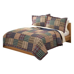 Pem America - Bradley King Quilt with 2 Shams - The Bradley quilt is a classic patchwork quilt, designed to accommodate the decorating style of the standard boy in your family. The variations of coordinating plaids are accented well with dark reds, greens, blues and earth tones. Cozy up to the warm, comfortable appeal of the Bradley quilt set! Quilt set includes 1 king quilt, 100 x 90 inches and 2 standard shams, 20x26 inches. 100% microfiber polyester face and fill. Machine washable.