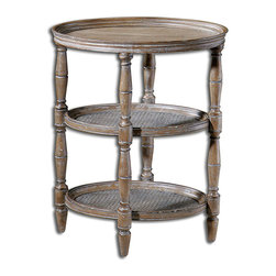Kendellen Accent Table - Whether placed upon a garden terrace, within a great room boasting coastal appeal, or beside the bed in a guest cottage, the Kendellen Accent Table lends a casual elegance to your decor. Presenting a natural, weathered finish with burnished edges, the table boasts three woven cane shelves in a hand-turned hardwood frame. The light antiquing glaze emphasizes a gentle distressing that imbues the piece with the look and feel of a family keepsake.
