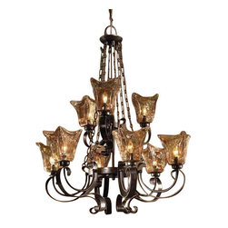 Uttermost Vetraio 9Lt Oil Rubbed Bronze Chandelier - Oil rubbed bronze. Heavy hand made glass is held in classic european iron works giving these pieces a contemporary quality, with strong traditional appeal as well.