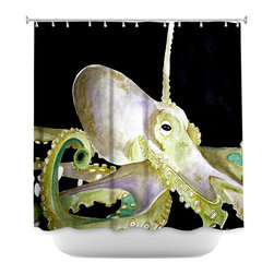 DiaNoche Designs - Shower Curtain Artistic - Deep Sea Life- Octopus - DiaNoche Designs works with artists from around the world to bring unique, artistic products to decorate all aspects of your home.  Our designer Shower Curtains will be the talk of every guest to visit your bathroom!  Our Shower Curtains have Sewn reinforced holes for curtain rings, Shower Curtain Rings Not Included.  Dye Sublimation printing adheres the ink to the material for long life and durability. Machine Wash upon arrival for maximum softness on cold and dry low.  Printed in USA.