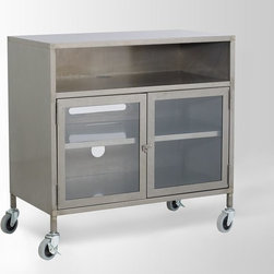 Industrial Metal TV Cart - A metal unit makes the house look more industrial.