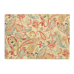 Red Multicolor Paisley Custom Placemat Set - Is your table looking sad and lonely? Give it a boost with at set of Simple Placemats. Customizable in hundreds of fabrics, you're sure to find the perfect set for daily dining or that fancy shindig. We love it in this classic multicolor paisley linen that plays nice with decor from traditional to eclectic.