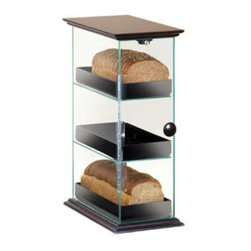 Cal Mil - 8W x 13D x 21H Classic 3 Tier Bread Case Wood Accent 1 Ct - This classic 3 tier bread case can be styled in three different ways. If you are looking for something more simple and fresh the case comes in all clear acrylic with no base. For a unique and modern twist add on a black base or wood accent Any of these bread cases will complement your bakery cafe or food service area.