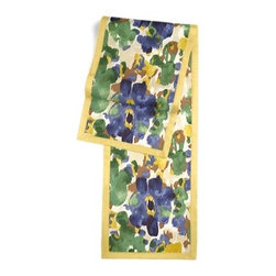 Blue & Green Dappled Watercolor Custom Table Runner - Set a table for a king! or just your family and friends!! with our gorgeous Tailored Table Runner. Solid edging adds a touch of refinement, perfectly setting off the center fabric. We love it in this abstract watercolor pattern dappled with bold, modern tones of emerald green, cobalt blue and golden mustard.