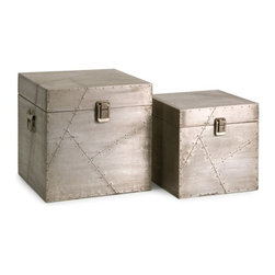 "IMAX - Jensen Aluminum Clad Boxes - Set of 2 - The Jensen aluminum clad boxes are an extraordinary mix of aluminum sheets and miniature nail head details reminiscent of aviation style manufacturing.  Item Dimensions: (10""h x 10""w x 10"")"