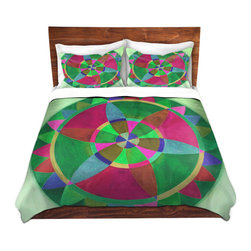 DiaNoche Designs - Duvet Cover Microfiber by Jennifer Baird - Mandala I C - Super lightweight and extremely soft Premium Microfiber Duvet Cover in sizes Twin, Queen, King.  This duvet is designed to wash upon arrival for maximum softness.   Each duvet starts by looming the fabric and cutting to the size ordered.  The Image is printed and your Duvet Cover is meticulously sewn together with ties in each corner and a hidden zip closure.  All in the USA!!  Poly top with a Cotton Poly underside.  Dye Sublimation printing permanently adheres the ink to the material for long life and durability. Printed top, cream colored bottom, Machine Washable, Product may vary slightly from image.