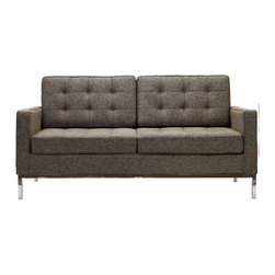 "IFN Modern - Florence Knoll Inspired Loveseat -Oatmeal Tweed - Product DimensionsOverall Dimensions: 31.5"" H x 62.2\"" W x 31.5\"" DOatmeal Tweed 