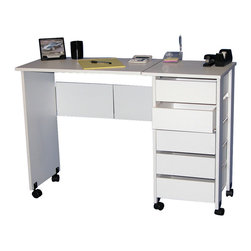Venture Horizon - Mobile Desk/Workstation - White - Whether you want a sewing center, a handy organizer from which to pay bills or an extra desk for the home office our Mobile Work Center is right for the job. Model # 1010 opens to an impressive 43in. wide yet folds to only 29in. high 19in. wide x 16in. deep. Four (4) dual-track carpet casters will let you roll it anywhere...to work or out of sight. The 5 deep, roomy drawers (inside dimensions: 11 1/4in. wide x 13 1/4in. deep x 3in. high) provide storage for just about anything you have in the way of office supplies or crafts. Constructed from durable melamine laminated particle board the Mobile Desks will offer a life time of reliable service. Assembly required. Made in the USA.