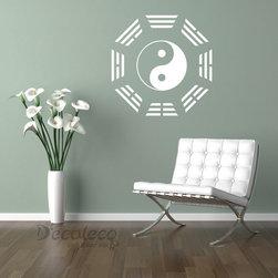 Yin Yang with ba gua vinyl wall decal - Yin Yang with ba gua vinyl wall decal | 24 colors available