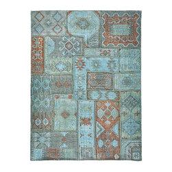 Patchwork Kilim - A handmade 5x8 overdyed patchwork kilim rug.