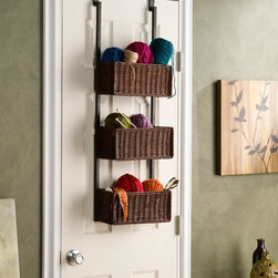 Upton Home - Burnet Espresso Over The Door 3-tier Basket Storage - Solve storage issues with this cute rattan three tier basket that conveniently hangs on any door. The rich espresso baskets are attached to black metal rods with over-the-door hooks. It's the perfect organizer for craft supplies or the bathroom.
