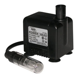 Alpine Fountains - 120 GPH Power Head T Pump w 5 Watt Light - Includes on off switch and 6 ft. power cord. Flow control. Epoxy protected and a ceramic shaft. Ceramic impellar shafts for long life. Cost saving, energy efficient operation. Ceramic impeller for long life. Reliable and quiet submersible water pump. Power consumption: 3.8 watts. Max flow: 120 gph. Max head: 38 in.. Outlet size: 0.38 in.. Warranty: One year. 2 in. L x 2 in. W x 3 in. H (1.7 lbs.)The power head pumps feature a flow control oil free magnetic design. Reliable and quiet submersible water pump.