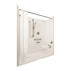 """Ella's Bubbles - Ella Elite Brilliant Barrier Free, 60""""W x 33.375""""D x 77.75""""H, Right Drain - The Ella Elite Brilliant, (5-Piece) 60 in. x 33 in. Roll in Shower is manufactured using premium marine grade gel coat fiberglass which creates a smooth, beautiful, long lasting surface with anti-slip textured shower base floor. Ella Elite Brilliant Barrier Free Shower walls are reinforced with wood and steel providing flexibility for seat and grab bar installation at needed height for any size bather. The integral self-locking aluminum Pin and Slot System allows the shower walls and the pre-leveled shower base to be conveniently installed from the front. Premium quality material, no need for drywall or extra studs for fixture support, 30 Year Limited Lifetime Warranty (on shower panels) and ease of installation make Ella Barrier Free Showers the best option in the industry for your bathtub replacement or modification needs."""