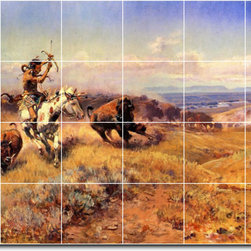 Picture-Tiles, LLC - Horse Of The Hunter Aka Fresh Meat Tile Mural By Charles Russell - * MURAL SIZE: 32x48 inch tile mural using (24) 8x8 ceramic tiles-satin finish.