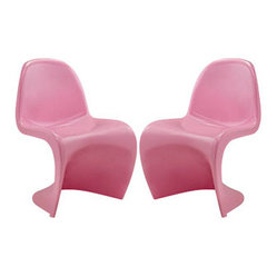 "LexMod - Slither Dining Side Chair Set of 2 in Pink - Slither Dining Side Chair Set of 2 in Pink - Sleek and sturdy, rock back and forth in comfort with this injection molded marvel. Constructed from a single piece of strong ABS plastic, the s shaped Slither chair can be found in many fashionable settings. Perfect for dining areas in need of a little zest, the design is versatile, fun and lively. Surprisingly cushy, choose from a selection of vibrant colors that wont fade over time. Slither is also perfect for spaces short on room. Set Includes: Two - Slither Dining Chair Tough ABS Construction, Stackable up to 4 High, Ergonomically Designed, Set of Two Chairs, No Assembly Required Seat Height: 18""H Overall Product Dimensions: 23""L x 19""W x 33""H - Mid Century Modern Furniture."