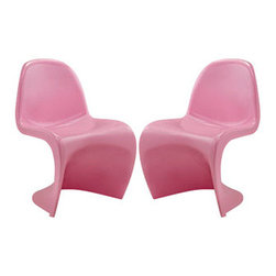 "LexMod - Slither Dining Side Chair Set of 2 in Pink - Slither Dining Side Chair Set of 2 in Pink - Sleek and sturdy, rock back and forth in comfort with this injection molded marvel. Constructed from a single piece of strong ABS plastic, the s shaped Slither chair can be found in many fashionable settings. Perfect for dining areas in need of a little zest, the design is versatile, fun and lively. Surprisingly cushy, choose from a selection of vibrant colors that wont fade over time. Slither is also perfect for spaces short on room. Set Includes: Two - Slither Dining Chair Tough ABS Construction, Stackable up to 4 High, Ergonomically Designed, Set of Two Chairs, No Assembly Required Overall Product Dimensions: 23""L x 19""W x 33""H Seat Height: 18""H - Mid Century Modern Furniture."
