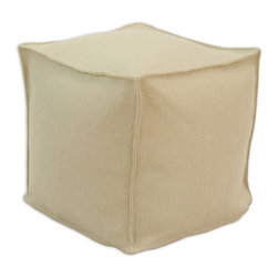 """Chooty - Chooty Burlap Natural Collection 17"""" Square Seamed Beads Hassock - Insert EPS Styrofoam Beads, Fabric Content Sanitizied Burlap, Color Tan , Ottoman 1"""