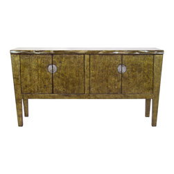 Madera Home - Khari Gold 4 Door Tall Sideboard - The Khari sideboard is crafted from 200 year old antique Elm wood, a muted metallic live edge piece that mixes urban finishing with rugged style.