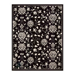 "Nourison - Nourison Versailles Palace VP49 7'6"" x 9'6"" Black White Area Rug 17247 - Walk in beauty, on a design fit for regal footsteps. Deepest midnight black is inlaid with blossoming flowers and delicate tendrils that glow with ivory purity. The subtle luster of superior wool is enhanced by the deep, hand-carved pile. Rich in the pleasures of fine quality."