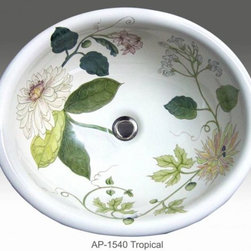 "Tropical hand painted design in self rimming sink. - AP-1540 White Small Donna drop-in sink with Tropical design. Inside dimension 15 1/2"" x 13"" x 6 1/4"" depth. Outside dimension 17 1/2"" x 15"" x 6 1/4"" depth. Center drain with overflow. Hand Painted in Florida."