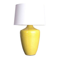 "Yellow Crackle Finish ""Snap"" Lamp - Substantial and modern, this ""Snap"" lamp will spiff up any lonely or lacking surface in a jiffy with its crackled, sunshine yellow finish. Multiple quantities available- please contact Chairish Customer Support with inquiries. Shade is not included."