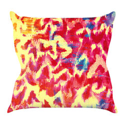 "Kess InHouse - Ebi Emporium ""Wild at Heart - Revisited"" Pink Orange Throw Pillow (18"" x 18"") - Rest among the art you love. Transform your hang out room into a hip gallery, that's also comfortable. With this pillow you can create an environment that reflects your unique style. It's amazing what a throw pillow can do to complete a room. (Kess InHouse is not responsible for pillow fighting that may occur as the result of creative stimulation)."