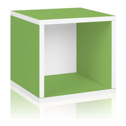 Way Basics - Way Basics Bookcases zBoard Eco 12.8 in. x 13.4 in. Green Stackable Storage - Shop for Storage & Organization at The Home Depot. Stackable Modular Storage Cubes. Simple design solution and eco-friendly furniture. An excellent home organizer for modern living. Behold our most basic creation flexing its muscles. Truly modular in every sense of the word there are endless configurations and possibilities for the design guru. Each Cube is separate from each other so you can satisfy your design itch when you feel like changing things up a bit. Stack them side to side on top of each other or get creative and build a pyramid and ladder design. Mix and match colors or just keep it simple with a single shade. Check out the additional images for ideas and send us your creations too. To assemble zBoard storage products simply peel stick done. Tool-free and hardware free. Super strong 3M heavy duty adhesive bonds the boards together. All our products are formaldehyde free and VOC free so it's safe for your family and our environment. Color: Green.