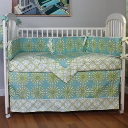 "Hoohobbers Burst Seagrass 4 Piece Crib Bedding Set - It may be called a """"neutral"""" design but the Hoohobbers Burst Seagrass 4 Piece Crib Bedding Set is hardly one to not take sides. The turquoise-based design on this bedding set makes the most out of splashes of color that make it hard not to smile. The cozy blanket is double-sided with 100% cotton flannel and is an extra-large 33 x 44 inches. The bumpers use simple fabric ties to fit most any crib and feature removable inserts that can be taken out during washing to help maintain shape. The dust ruffle has an 18-inch drop and the fitted sheet features all the vibrant colors of this fun design. Start your child out right with the spirited fun in this colorful design.About HoohobbersBased in Chicago Hoohobbers has designed and manufactured its own line of products since 1981 beginning with the now-classic junior director's chair. Hoohobbers makes both hard goods (furniture) and soft goods. Hoohobbers' hard goods are not your typical furniture products; they fold are lightweight and portable and are made to be carried by children all around the house. Even outdoors Hoohobbers' hard goods are 100 percent water-safe. At the same time they are plenty durable and can take the abuse children often give. Hoohobbers' soft goods are fabric items ranging from bibs to bedding from art smocks to Moses baskets.Hoohobbers' products are recognized by independent third parties for their quality and performance. Hoohobbers has received Best Design Awards from America's Juvenile Products Association each time selected from more than 20 000 products. Hoohobbers has also received the Parents' Choice Award and no Hoohobbers product has ever been subject to consumer recall. Furthermore the company's products are often featured in leading women's and children's publications."