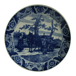 Chemkefa - Large Consigned Vintage Blue Delft Charger Plate - Product Details