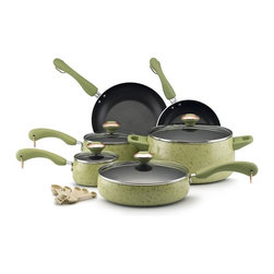 Paula Deen - Paula Deen Signature Porcelain non-stick Cookware 15 Piece Set - Green - 12515 - Shop for Cookware Sets from Hayneedle.com! Add a bit of juicy color and lots of cooking personality to your kitchen with the Paula Deen Signature Non-stick 15-Piece Set in Green. All pieces in this comprehensive cookware set feature handsome speckled green porcelain exteriors with color-coordinating plastic handles and are oven-safe up to 350 degrees. The set includes four pots and pans with tight-fitting tempered glass lids and two skillets. A set of five matching measuring spoons completes the collection.