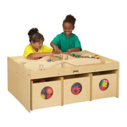 Jonti-Craft Kydz Activity Table With 6 Bins - Add storage and a sturdy building table to your child's play area with the Kydz Activity Table with Six Bins. This table comes with six storage bins - three on each side - to hold large toys or blocks. The bins are a fantastic way to keep things organized and the see-through circles allow your child to easily identify the toys inside. As your kids stand or kneel beside this generously sized table they'll have easy access to all sides as they engage in connective activities like trains and building blocks. A 1.5-inch lip around the perimeter of the table keeps pieces on the table and off the floor. If your child gets frustrated when trying to get toys to stand up or stay connected on the carpet this smooth tabletop surface is your solution. Several features make this children's activity table especially safe and durable. KYDZSafe edges ensure that all edges - front back and base - are fully rounded. The KYDZTuff construction employs the dowel-pin technique which leaves the thickness of the material intact where most of the stress occurs. Recessed backs enhance both strength and appearance. The KYDZTuff finish resists stains won't yellow cleans easily and is as tough as the coating used on gym floors. Lifetime manufacturer's warranty. About Jonti-CraftFamily-owned and -operated out of Wabasso Minn. Jonti-Craft is a leading provider of quality furniture for the early learning market. It offers a wide selection of creatively designed products in both wood and laminate materials. Its products are packed with features that make them safe functional and affordable. Jonti-Craft products are built using the strongest construction techniques available to ensure that your furniture purchase will last a lifetime.
