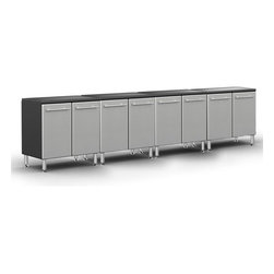 """Ultimate Garage - PRO 2-Door Base Cabinet Package - Unique Polyurethane Coated Cabinet Fronts in Silver on Strong 3/4"""" MDF. Full Radius Cabinet Profile for Custom Shop Styling and Reduced Sharp Edges. Strong 3/4"""" PB Cabinet Construction with Textured PVC Grey Laminate, Which Provides Stylish 2-Tone Color. Strong 1"""" Thick Fully Wrapped and Edge Banded Adjustable Shelves with 200 lb Load Rating. Fully Adjustable Recessed Euro Hinges. Jumbo Brushed Chrome Cabinet Handles Double as Shop Towel holder. 6"""" Adjustable Aluminum Feet for Uneven Surfaces. Strong 1.25"""" Thick MDF Integrated Recesssed Worktop Surface."""