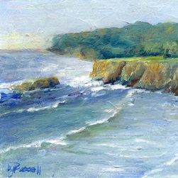 """Small Colorful Painting Pacific Surf Ocean Art by K. Joann Russell - """"Pacific Surf"""", a colorful original oil seascape painting, celebrates my visits to the beaches of the Pacific Ocean with the surf rolling in to sandy beaches and crashing against rocky cliffs."""