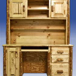 "Montana Woodworks - Glacier Country Desk w Hutch - Handcrafted. Hutch has two doors concealing storage areas. Multiple shelves to hold all the little things an office requires. Slide out keyboard tray. Letter sized file drawer. Tower slide out. Full extension. Ball bearing slides. 20 years limited warranty. Made from solid pine. Hand-crafted in the US, each Montana Woodwork product is made from unprocessed, solid wood that highlights the character of its source tree with unique knots and grains. Made in USA. Assembly required. 63 in. W x 22 in. D x 74 in. H How do we make the Montana Woodworks computer desk even more amazing. The desk with hutch is as functional as it is appealing. Finished in the ""Glacier Country"" collection style for a truly unique, one-of-a-kind look reminiscent of the Grand Lodges of the Rockies, circa 1900.  First we remove the outer bark while leaving the inner, cambium layer intact for texture and contrast.  Then the finish is completed in an eight step, professional spraying process that applies stain and lacquer for a beautiful, long lasting finish."