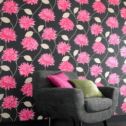 Romance Black & Pink Floral Wallpaper