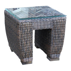 Wicker Paradise - All Weather Wicker End Table Galveston - The Galveston end table with glass is suitable for total outdoor use and features a tempered glass top.