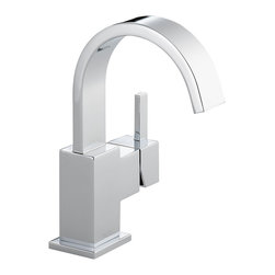 Delta Single Handle Centerset Lavatory Faucet - 553LF - Inspired by slim lines and graceful arc of a ribbon, the Vero bath collection offers a high-end, modern look to the bath.