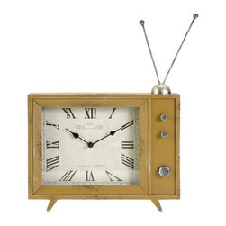 "IMAX - Garrett Retro TV Clock - The Garrett clock takes inspiration from retro modular television models and adds the classic rabbit ear design to the mustard finished enclosure. Item Dimensions: (17.5""h x 13.5""w x 2.75"")"