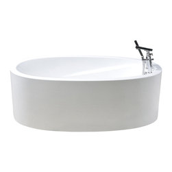Aquatica - Aquatica PureScape 317 Freestanding Acrylic Bathtub - The Purescape 317 freestanding bathtub evokes the expansiveness and freedom of an infinity pool, captured in a sleek design that brings the outdoors, in. With a wide flat rim much like the edges of an infinity pool, this bathtub provides the same indulgent feeling. Though not filled to the brim, the style is still brimming with richness.