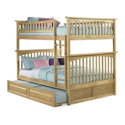 Atlantic Furniture - Columbia Full Over Full Bunk Bed w Trundle - NOTE: ivgStores DOES NOT offer assembly on loft beds or bunk beds. Includes full upper and lower panels, rails, ladder clip-on, slat kits and raised panel trundle. Mattress not included. Solid hardwood Mortise & Tenon construction. 26-Steel reinforcement points. Made of premium, eco-friendly hardwood with a 5-step finishing process. Designed for durability. Guard rails match panel design. Meet or exceed all ASTM bunk bed standards, which require the upper bunk to support 400 lbs.. Pictured in Natural Maple finish. 1-Year manufacturer's warranty. Clearance from floor without trundle or storage drawers: 11.25 in.. 80.5 in. L x 58.38 in. W x 68.13 in. H. Raised panel trundle: 74.75 in. L x 40.38 in. W x 11.63 in. H. Bunk Bed Warning. Please read before purchaseThe Columbia bunk bed features a classic Mission style design with subtle curves and solid post construction.