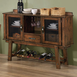 """Coaster - Lawson Server, Rustic Oak - You'll enjoy the unique design elements of this collection displayed in its wood paneled top and large accent bold elements. Bring the style of the Lawson collection into your living room with matching occasional tables and entertainment unit. Accented with cable ties to enhance the rustic feel, this group is sure to be a conversation starter among your guests.; Country Style; Rustic Oak Finish; Dimensions: 55""""L x 17""""W x 43""""H"""