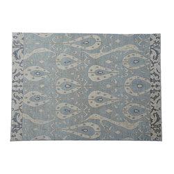 1800-Get-A-Rug - Silver Blue Ikat Uzbek Design Hand Knotted Rug Sh7897 - About Wool Pile