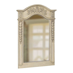 """World Imports - Belle Foret 36"""" x 24"""" Framed Carved Portrait Mirror, Antique Parchment - Single, vanity mirror"""