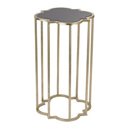 Sterling Lighting - Sterling Lighting Mission Cocktail Table - This quatrefoil shaped stand is inspired by window panes of the Spanish Mission. Formed from metal finished in gold/ the black top adds a touch of glamour.