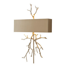 Global Views - Twig Electrified Wall Sconce - Nickel - Cast from real twigs, the brass sconce is a sculptural masterpiece. The smooth nickel plated or bronze shade really sets off the twig finial and twig decoration below the shade. Takes two 40 watt bulbs.